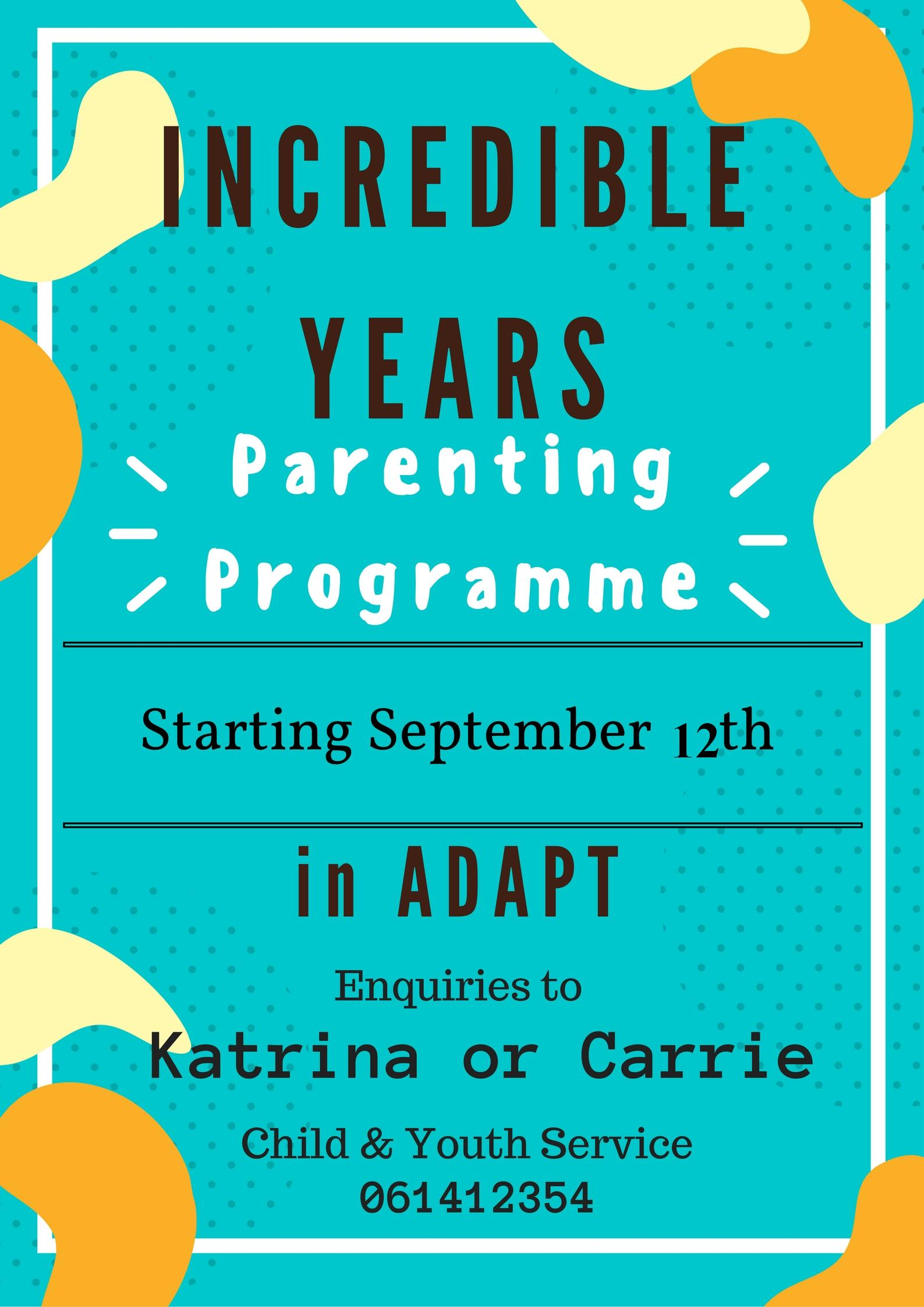 incredible years parenting programme @ ADAPT